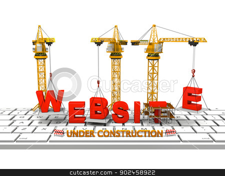 Building Website stock photo, Cranes building a website on a computer keyboard, concept of website under construction by Harvepino