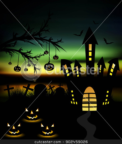 Happy Halloween night colorful with pumpkins vector stock vector clipart, Happy Halloween night colorful with pumpkins vector by bharat pandey