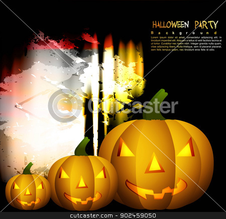 Halloween Scary pumpkins yellow background  stock vector clipart, Halloween Scary pumpkins yellow background  by bharat pandey