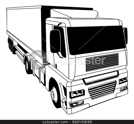 Black and white semi truck stock vector clipart, A black and white illustration of a stylised semi truck by Christos Georghiou