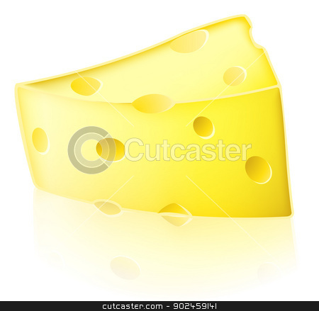 Cartoon cheese illustration stock vector clipart, Illustration of a slice of cartoon Swiss type yellow cheese with holes in it by Christos Georghiou
