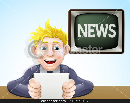 News reader cartoon stock vector clipart, An illustration of a cartoon television news reader holding his notes in front of a screen reading news by Christos Georghiou