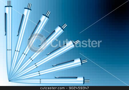 Fan of pens on a blue graduated background stock photo, Fan of pens on a blue graduated background by velislava