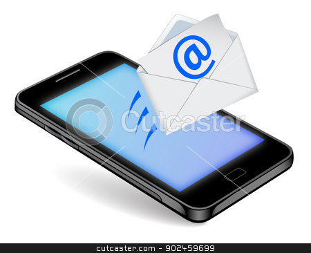 Communication Technology stock vector clipart, generation smartphones connected to the network receives messages by Alfio Roberto Silvestro