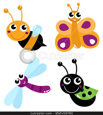 Cute little cartoon bugs isolated on white stock vector clipart, Colorful bugs mix. Vector cartoon Illustration by BEEANDGLOW