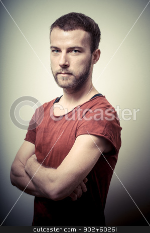 vintage portrait of fashion guy stock photo, vintage portrait of fashion guy on gray background by Eugenio Marongiu