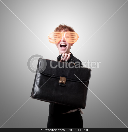 businesswoman with big funny eyeglasses and briefcase stock photo, businesswoman with big funny eyeglasses and briefcase on gray background by Eugenio Marongiu