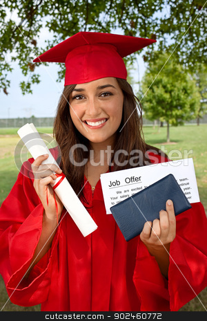Graduate Job Success stock photo, Beautiful multiracial graduate holds Diploma, Checkbook and job offer. This is a conceptual image about successful graduate finding employment. by Stephanie Zieber
