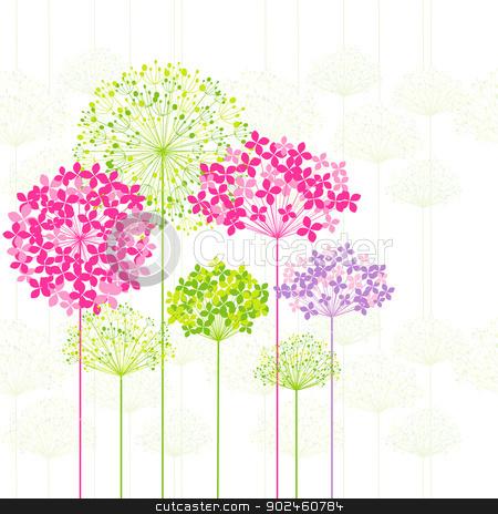 Springtime Colorful Flower on Dandelion Background stock vector clipart, Springtime Colorful Flower on Dandelion Seamless Pattern Background by meikis