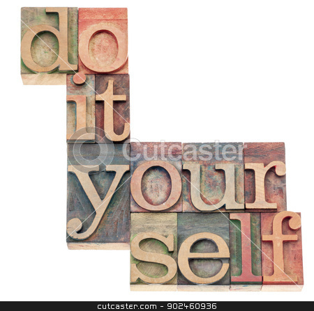 do it yourself stock photo, do it yourself, popular culture phrase - isolated text in vintage letterpress wood type printing blocks by Marek Uliasz
