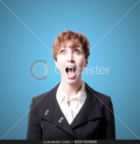 screaming success short hair business woman stock photo, screaming success short hair business woman on blue background by Eugenio Marongiu