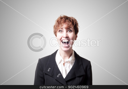 screaming success short hair business woman stock photo, screaming success short hair business woman on gray background by Eugenio Marongiu