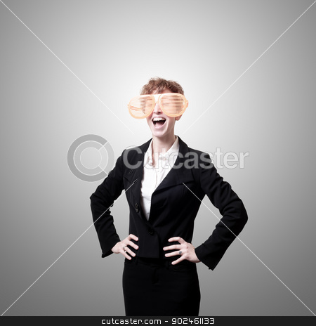 businesswoman with big funny eyeglasses screaming stock photo, businesswoman with big funny eyeglasses screaming on gray background by Eugenio Marongiu