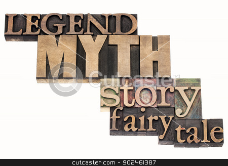 legend, myth, story, tale stock photo, legend, myth, story, fairy tale - isolated word abstract in vintage letterpress wood type printing blocks by Marek Uliasz