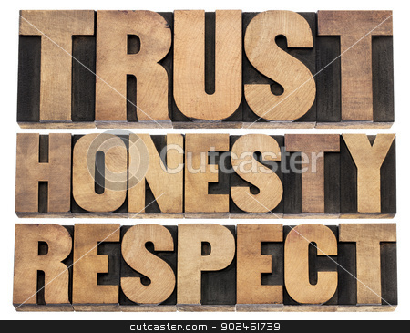 trust, honesty, respect stock photo, trust, honesty, respect - isolated words in vintage letterpress wood type printing blocks by Marek Uliasz