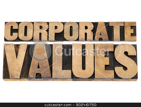 corporate values in wood type stock photo, corporate values - business ethics and integrity concept - isolated text in vintage letterpress wood type printing blocks by Marek Uliasz