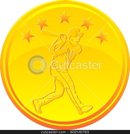 Baseball hitter gold medal stock vector clipart, Gold medal with a baseball hitter under 5 stars by PhotoEstelar