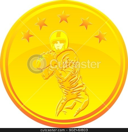 Football Gold Medal stock vector clipart, Gold medal with a Quarterback under 5 stars by PhotoEstelar