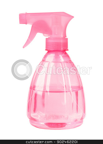 Plastic pink sprayer stock photo, Single a plastic pink sprayer for spraying water on houseplants. Isolated on white background. Close-up. Studio photography. by Andrey Khritin