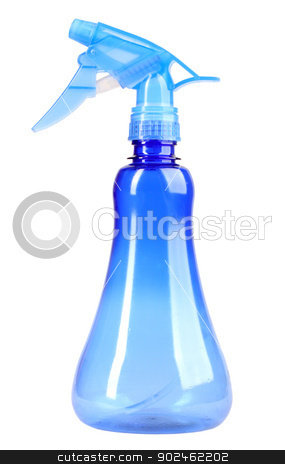 Plastic blue sprayer stock photo, Plastic blue sprayer for spraying water on houseplants. Isolated on white background. Close-up. Studio photography. by Andrey Khritin