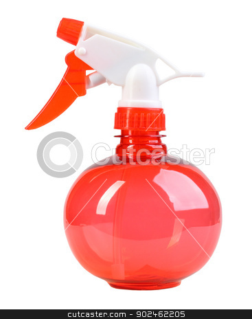Red sprayer stock photo, Ball-form a red sprayer for spraying water on houseplants. Isolated on white background. Close-up. Studio photography. by Andrey Khritin