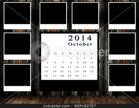 Calendar 2014 set with photo frame on grunge wall stock photo, Calendar 2014 set with photo frame on grunge wall by pixbox77