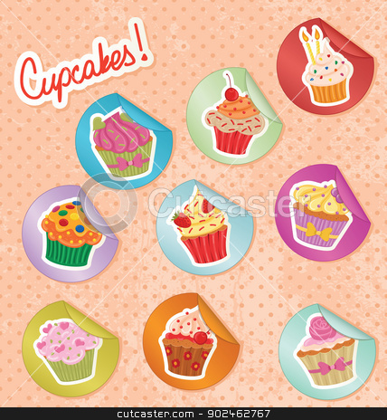 Cupcakes Stickers Set stock vector clipart, Cupcake stickers on a polka dot grunge paper. by wingedcats