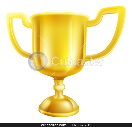 Gold Trophy Illustration stock vector clipart, An illustration of a shiny gold winners first place trophy  by Christos Georghiou