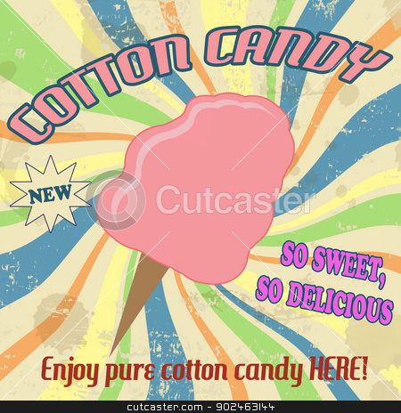 Cotton candy vintage poster stock vector clipart, Cotton candy vintage grunge poster, vector illustration by radubalint
