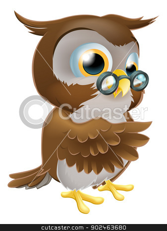 Pointing Cute Owl stock vector clipart, An illustration of a cute cartoon wise owl character pointing or showing something with his wing by Christos Georghiou