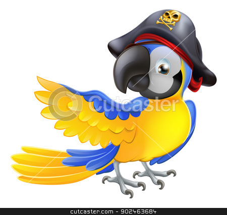 Parrot pirate character stock vector clipart, A blue cartoon parrot with a pirate hat and eye patch pointing with its wing by Christos Georghiou