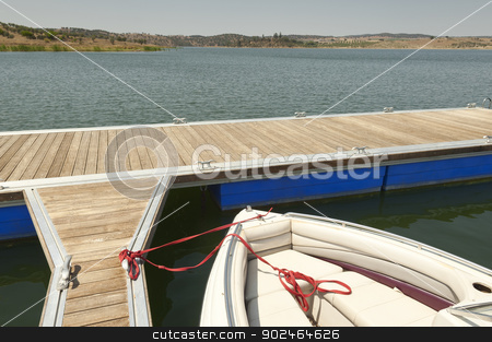 Floating dock stock photo, Floating dock in the reservoir of Alqueva, Amieira, Alentejo, Portugal by Manuel Ribeiro