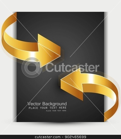 abstract 3d golden shiny arrows business frame vector  stock vector clipart, abstract 3d golden shiny arrows business frame vector  by bharat pandey