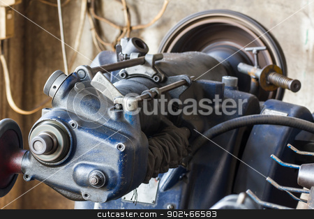 Old lathe in workshop stock photo, Old lathe is ready to work in  the workshop by stoonn