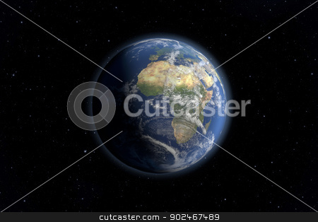 Earth view stock photo, An image of an Earth view from space. 3D Graphic with high detailed NASA images for the earth. by Markus Gann