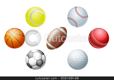 Sports balls stock vector clipart, Illustrations of sports ball icons, including cricket ball, football and soccer ball, baseball ball and tennis ball, golf ball and basket ball. by Christos Georghiou