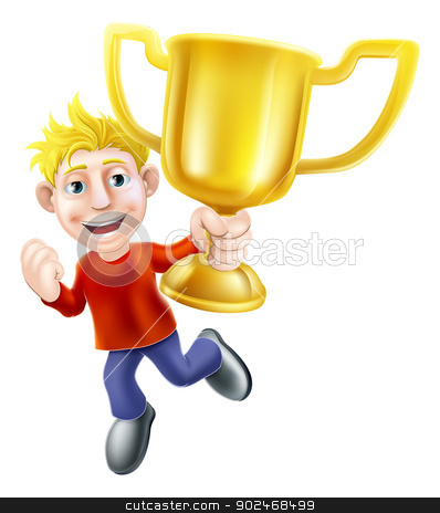 Cartoon man and winners trophy stock vector clipart, A cartoon casually dressed man happily jumping in the air holding a winners gold trophy by Christos Georghiou