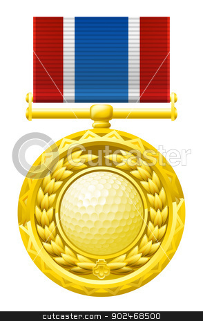 Golf medal stock vector clipart, A gold winners medal with a laurel wreath and golf ball illustration. by Christos Georghiou
