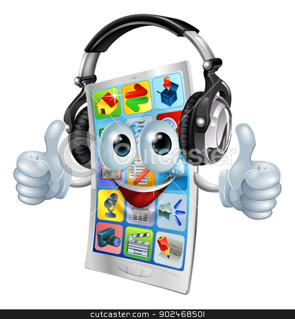 Music app cell phone stock vector clipart, A cell phone cartoon mascot with big headphones on listening to music and giving a double thumbs up. by Christos Georghiou