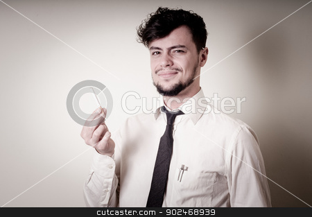 businessman stop smoking stock photo, businessman stop smoking on gray background by Eugenio Marongiu