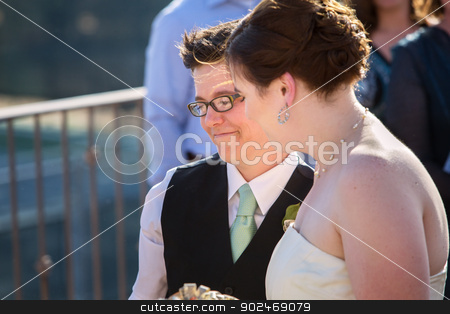 Happy Lesbian Couple stock photo, Happy young lesbian married couple standing outside by Scott Griessel