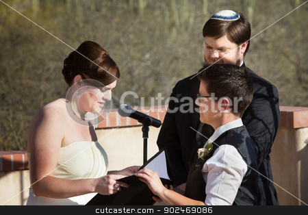 Lesbian Couple Marriage Ceremony stock photo, Lesbian white couple reciting marriage vows in ceremony by Scott Griessel