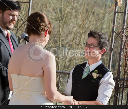 Outdoor Civil Union Ceremony stock photo, Smiling woman with partner in civil union ceremony by Scott Griessel