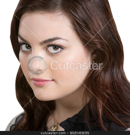 Sexy Young Woman Close Up stock photo, Close up of sexy young female adult over white background by Scott Griessel