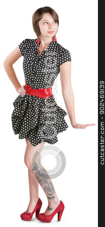 Woman in Dress with Tattoo stock photo, Cute young woman in polka dots with butterfly tattoo by Scott Griessel