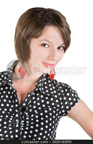 Gorgeous in Polkda Dots stock photo, Gorgeous female adult in polka dot dress by Scott Griessel