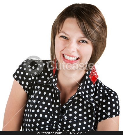 Beautiful Lady Laughing stock photo, Beautiful brunette in polka dots laughing on isolated background  by Scott Griessel