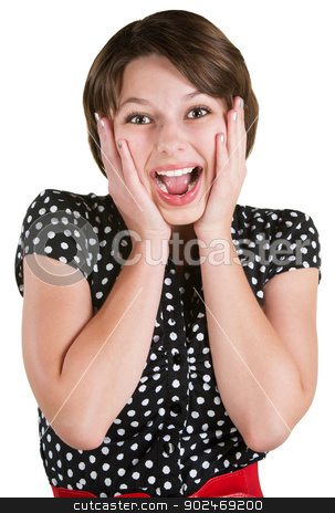 Screaming Young Female stock photo, Screaming young adult female with hands on cheeks by Scott Griessel