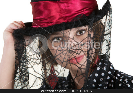 Lady in Spider Web Hat stock photo, Cute young woman with spider web veil and red hat by Scott Griessel