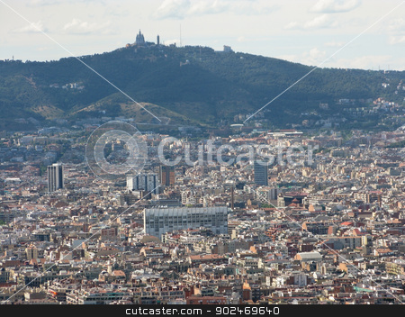 Barcelona cityscape stock photo, View on the city of Barcelona in Spain with mountains in the background by Andreas Altenburger